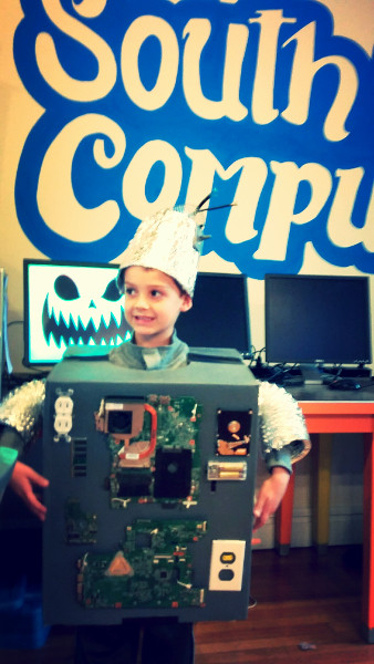 recycled computer parts robot costume